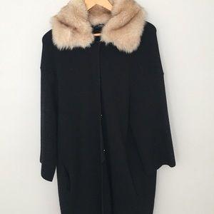 Faux fur trim coat/cardigan/coatigan